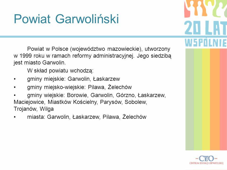 Położenie Powiat położony jest na pograniczu historycznego Mazowsza (ziemia czerska) obejmującego północą część regionu wraz z miastami Garwolin i Pilawa.