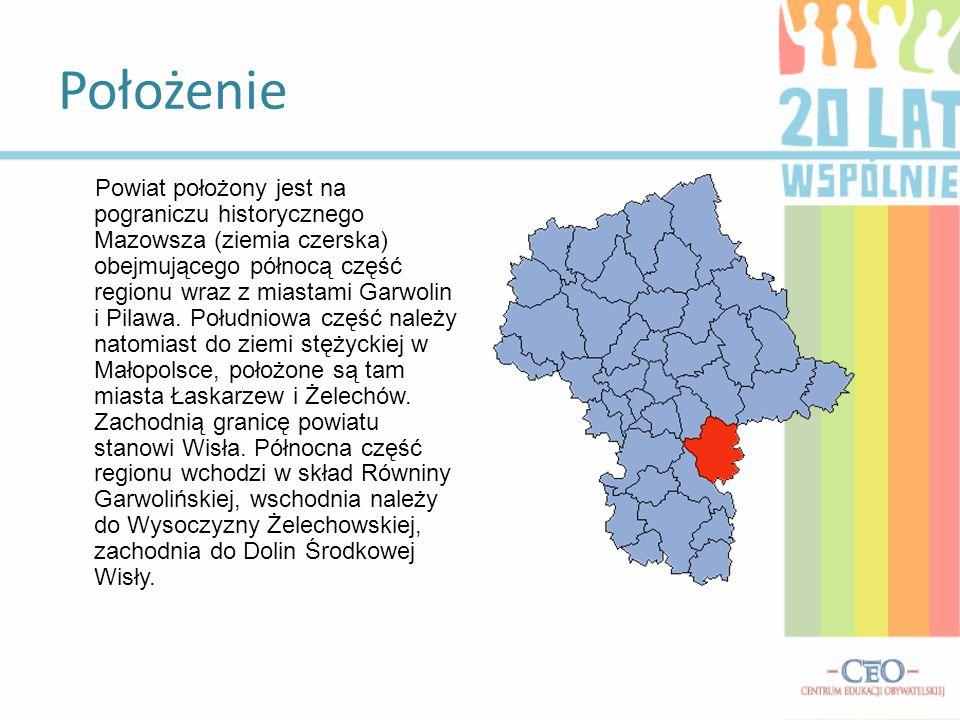 Położenie Powiat położony jest na pograniczu historycznego Mazowsza (ziemia czerska) obejmującego północą część regionu wraz z miastami Garwolin i Pil