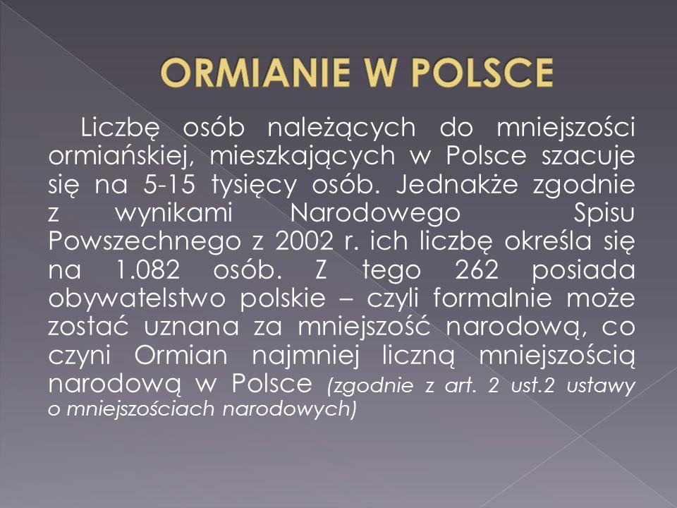 Liczbę osób należących do mniejszości ormiańskiej, mieszkających w Polsce szacuje się na 5-15 tysięcy osób.
