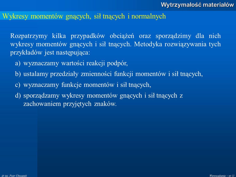 Wprowadzenie – nr 11 Wytrzymałość materiałów dr inż. Piotr Chwastyk Wykresy momentów gnących, sił tnących i normalnych Rozpatrzymy kilka przypadków ob