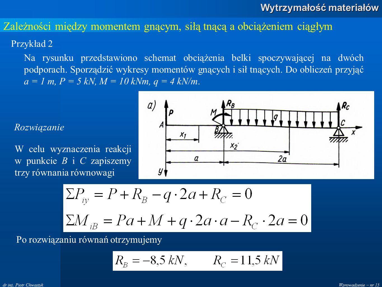 Wprowadzenie – nr 15 Wytrzymałość materiałów dr inż. Piotr Chwastyk Zależności między momentem gnącym, siłą tnącą a obciążeniem ciągłym Przykład 2 Na