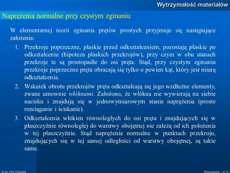 Wprowadzenie – nr 18 Wytrzymałość materiałów dr inż. Piotr Chwastyk Naprężenia normalne przy czystym zginaniu W elementarnej teorii zginania prętów pr