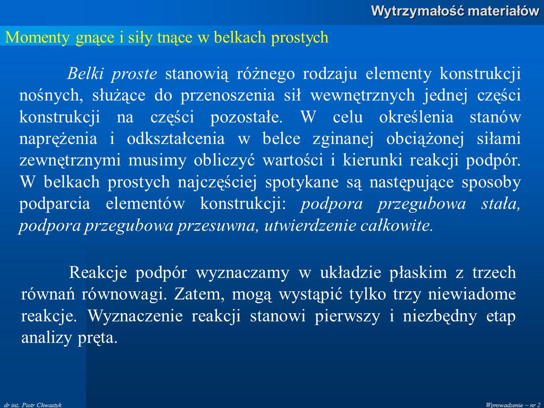 Wprowadzenie – nr 2 Wytrzymałość materiałów dr inż. Piotr Chwastyk Momenty gnące i siły tnące w belkach prostych Belki proste stanowią różnego rodzaju
