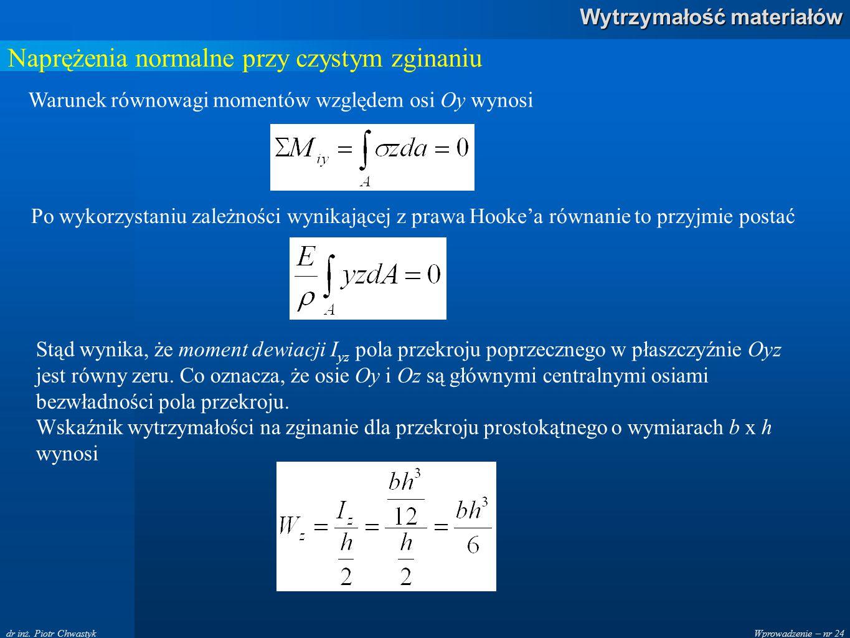 Wprowadzenie – nr 24 Wytrzymałość materiałów dr inż. Piotr Chwastyk Naprężenia normalne przy czystym zginaniu Warunek równowagi momentów względem osi