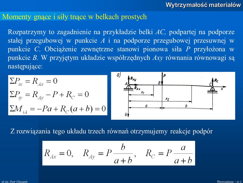 Wprowadzenie – nr 3 Wytrzymałość materiałów dr inż. Piotr Chwastyk Momenty gnące i siły tnące w belkach prostych Rozpatrzymy to zagadnienie na przykła