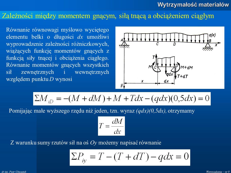 Wprowadzenie – nr 9 Wytrzymałość materiałów dr inż. Piotr Chwastyk Zależności między momentem gnącym, siłą tnącą a obciążeniem ciągłym Równanie równow