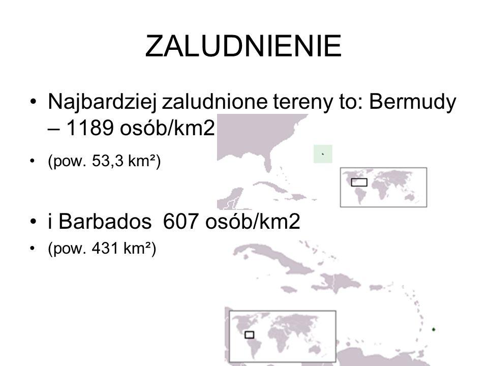 ZALUDNIENIE Najbardziej zaludnione tereny to: Bermudy – 1189 osób/km2 (pow. 53,3 km²) i Barbados 607 osób/km2 (pow. 431 km²)