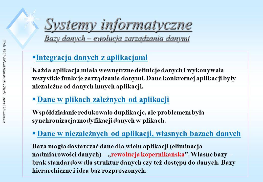 Wydz. BMiP Zakład Matematyki i Fizyki - Marek Malinowski Systemy informatyczne Bazy danych – ewolucja zarządzania danymi  Integracja danych z aplikac