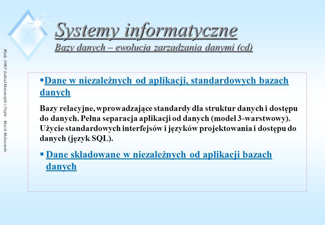 Wydz. BMiP Zakład Matematyki i Fizyki - Marek Malinowski Systemy informatyczne Bazy danych – ewolucja zarządzania danymi (cd)  Dane w niezależnych od