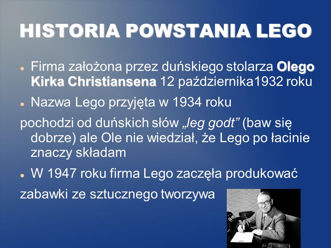 """Olego Kirka Christiansena Firma założona przez duńskiego stolarza Olego Kirka Christiansena 12 października1932 roku Nazwa Lego przyjęta w 1934 roku pochodzi od duńskich słów """"leg godt (baw się dobrze) ale Ole nie wiedział, że Lego po łacinie znaczy składam W 1947 roku firma Lego zaczęła produkować zabawki ze sztucznego tworzywa HISTORIA POWSTANIA LEGO"""