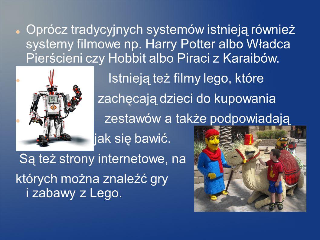 LEGO WSPÓŁCZEŚNIE Obecnie Lego tworzy wiele różnych systemów na przykład, City, Creator, Technic, Duplo, Kingdom, Sar Wars, Mindsorms, WeDo, Ninjago,
