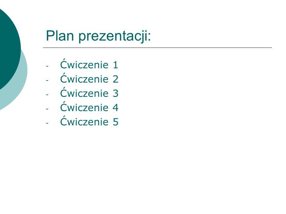 Plan prezentacji: - Ćwiczenie 1 - Ćwiczenie 2 - Ćwiczenie 3 - Ćwiczenie 4 - Ćwiczenie 5