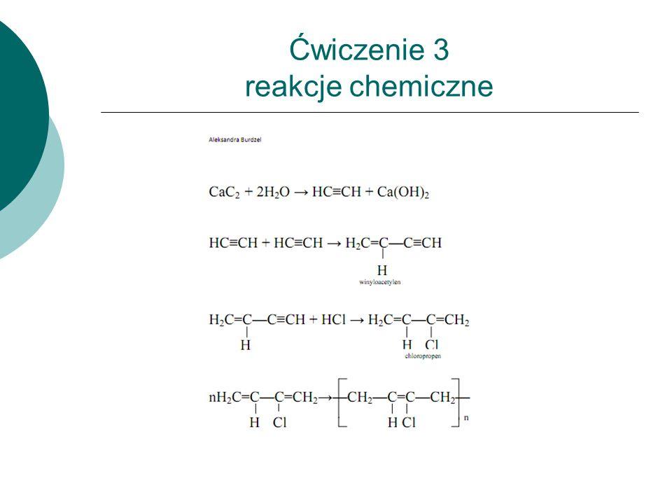 Ćwiczenie 3 reakcje chemiczne
