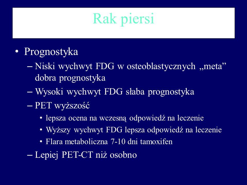 """Rak piersi Prognostyka – Niski wychwyt FDG w osteoblastycznych """"meta"""" dobra prognostyka – Wysoki wychwyt FDG słaba prognostyka – PET wyższość lepsza o"""