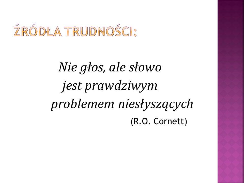Nie głos, ale słowo jest prawdziwym problemem niesłyszących (R.O. Cornett)