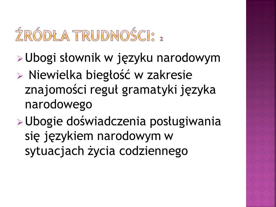  Ubogi słownik w języku narodowym  Niewielka biegłość w zakresie znajomości reguł gramatyki języka narodowego  Ubogie doświadczenia posługiwania si