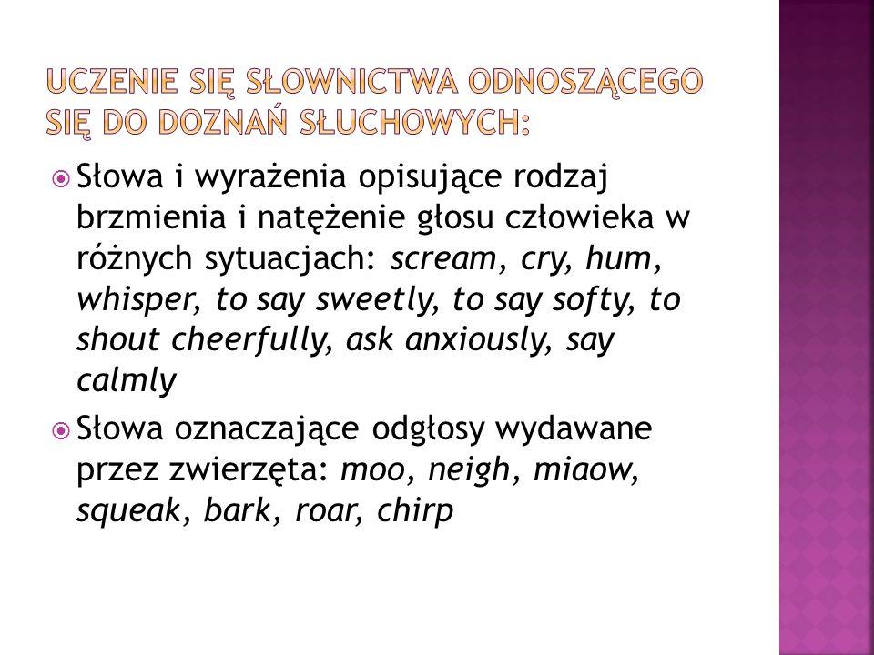  Słowa i wyrażenia opisujące rodzaj brzmienia i natężenie głosu człowieka w różnych sytuacjach: scream, cry, hum, whisper, to say sweetly, to say sof
