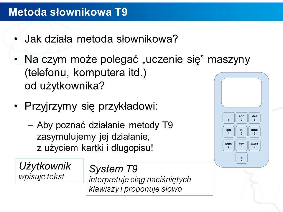 """Metoda słownikowa T9 Jak działa metoda słownikowa? Na czym może polegać """"uczenie się"""" maszyny (telefonu, komputera itd.) od użytkownika? Przyjrzymy si"""