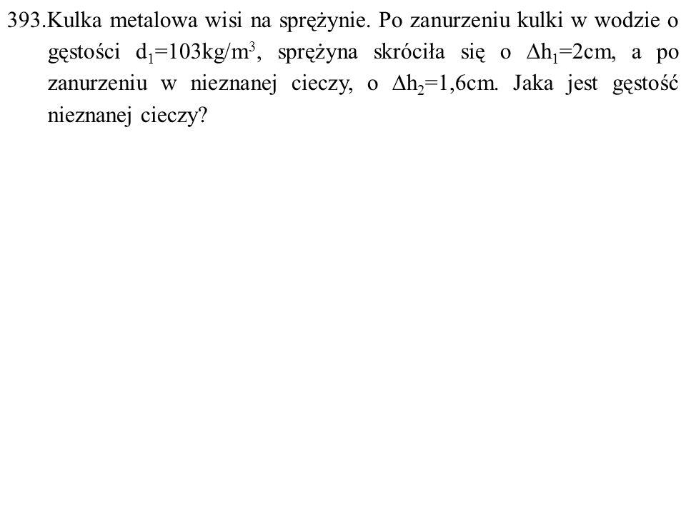 Dane: d 1 =100kg/m 3,  h 1 =0,02m,  h 2 =0,016m. Szukane: d 2 =? F: