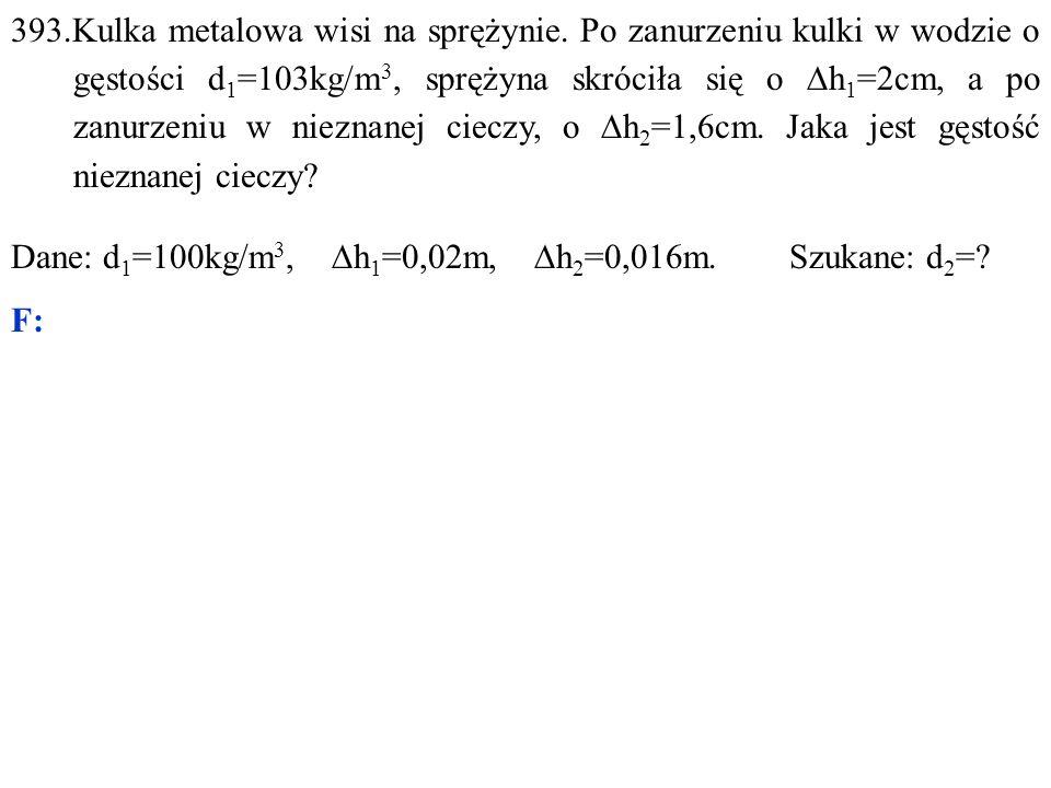 Dane: d 1 =100kg/m 3,  h 1 =0,02m,  h 2 =0,016m. Szukane: d 2 = F: