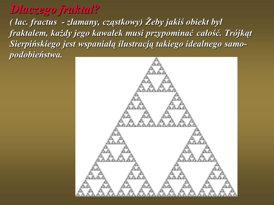 Dlaczego fraktal? ( łac. fractus - złamany, cząstkowy) Żeby jakiś obiekt był fraktalem, każdy jego kawałek musi przypominać całość. Trójkąt Sierpiński