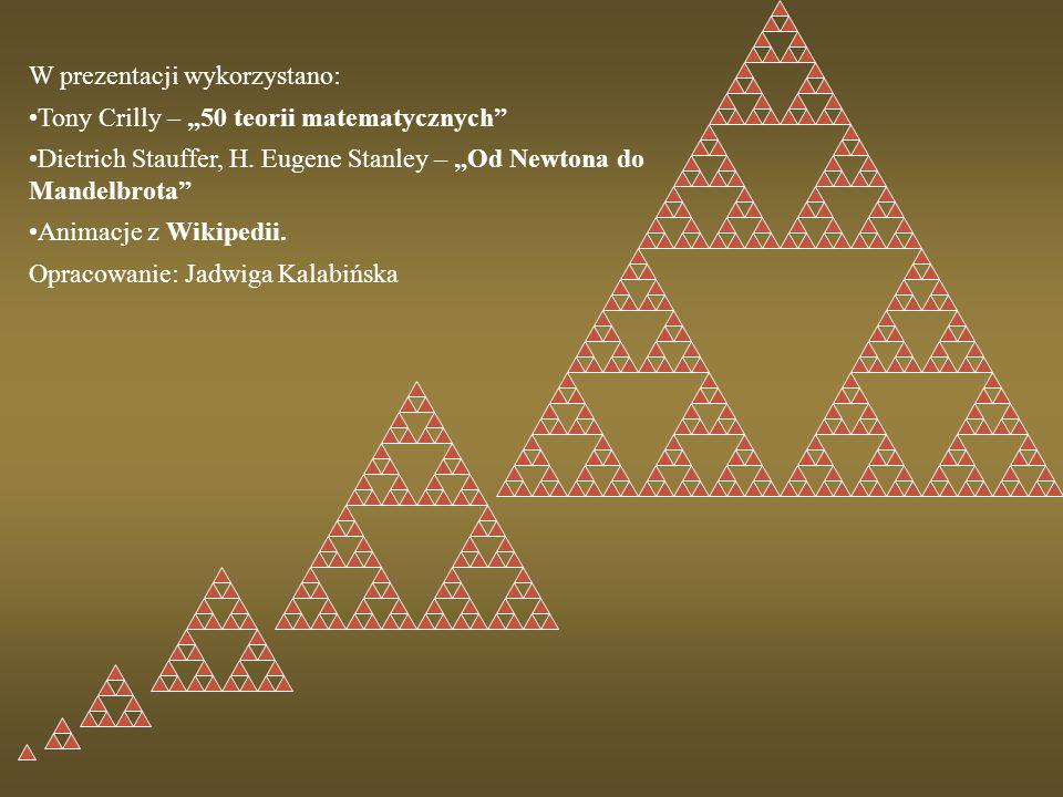 """W prezentacji wykorzystano: Tony Crilly – """"50 teorii matematycznych"""" Dietrich Stauffer, H. Eugene Stanley – """"Od Newtona do Mandelbrota"""" Animacje z Wik"""
