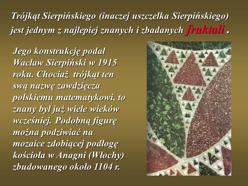 Trójkąt Sierpińskiego (inaczej uszczelka Sierpińskiego) jest jednym z najlepiej znanych i zbadanych fraktali. Jego konstrukcję podał Wacław Sierpiński