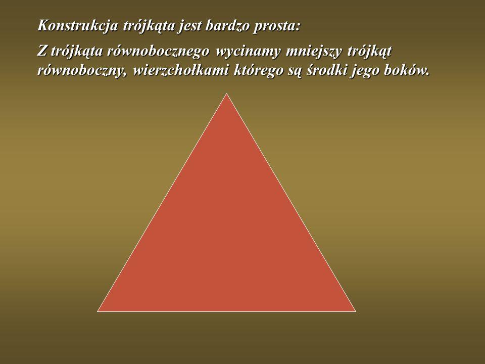 Konstrukcja trójkąta jest bardzo prosta: Z trójkąta równobocznego wycinamy mniejszy trójkąt równoboczny, wierzchołkami którego są środki jego boków.