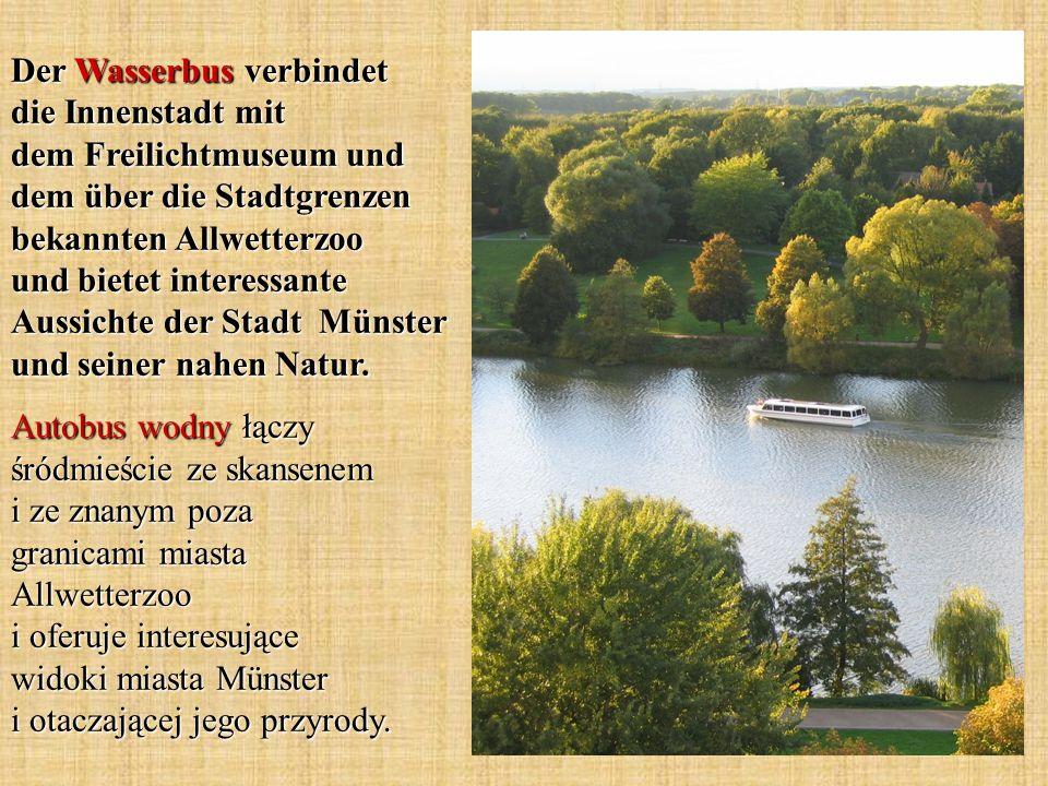Der Wasserbus verbindet die Innenstadt mit dem Freilichtmuseum und dem über die Stadtgrenzen bekannten Allwetterzoo und bietet interessante Aussichte der Stadt Münster und seiner nahen Natur.
