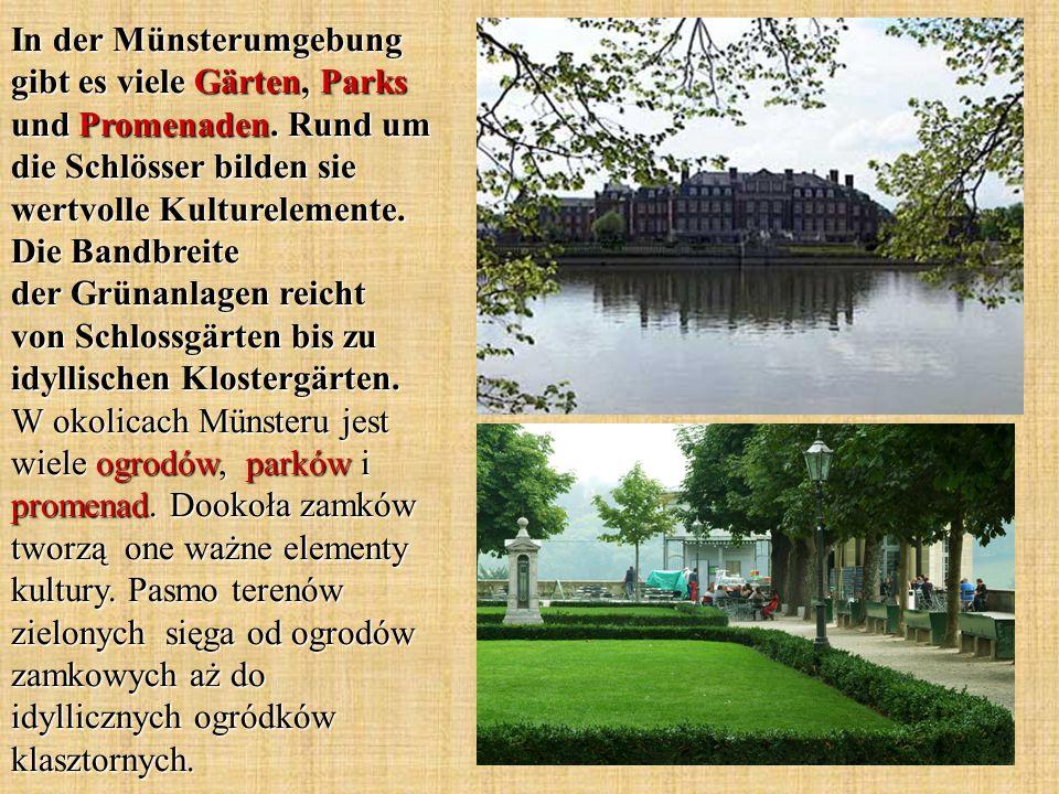 In der Münsterumgebung gibt es viele Gärten, Parks und Promenaden.