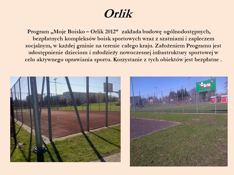 """Orlik Program """"Moje Boisko – Orlik 2012"""" zakłada budowę ogólnodostępnych, bezpłatnych kompleksów boisk sportowych wraz z szatniami i zapleczem socjaln"""