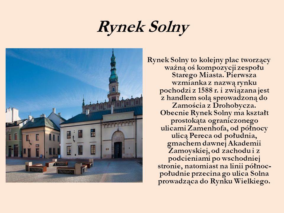 Rynek Solny Rynek Solny to kolejny plac tworzący ważną oś kompozycji zespołu Starego Miasta. Pierwsza wzmianka z nazwą rynku pochodzi z 1588 r. i zwią