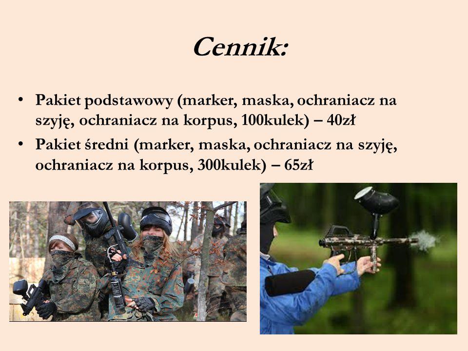 Cennik: Pakiet podstawowy (marker, maska, ochraniacz na szyję, ochraniacz na korpus, 100kulek) – 40zł Pakiet średni (marker, maska, ochraniacz na szyj