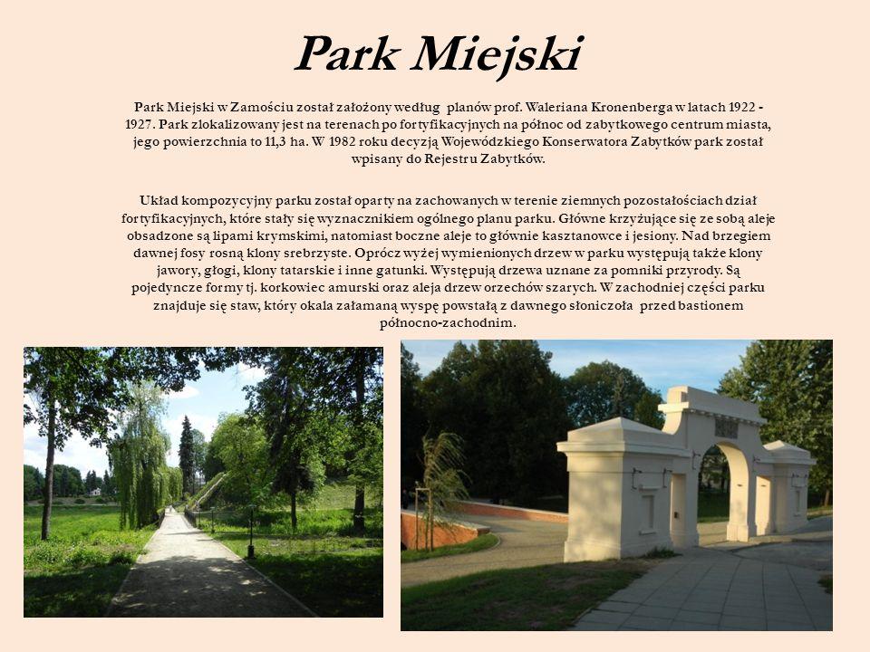 Park Miejski Park Miejski w Zamościu został założony według planów prof. Waleriana Kronenberga w latach 1922 - 1927. Park zlokalizowany jest na terena
