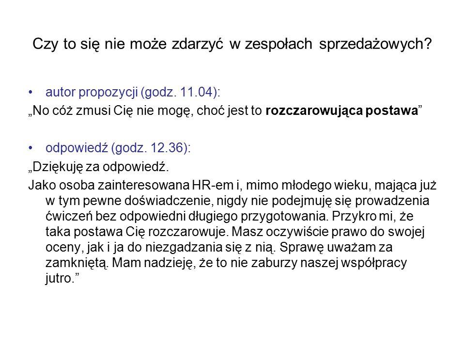 """autor propozycji (godz. 11.04): """"No cóż zmusi Cię nie mogę, choć jest to rozczarowująca postawa"""" odpowiedź (godz. 12.36): """"Dziękuję za odpowiedź. Jako"""