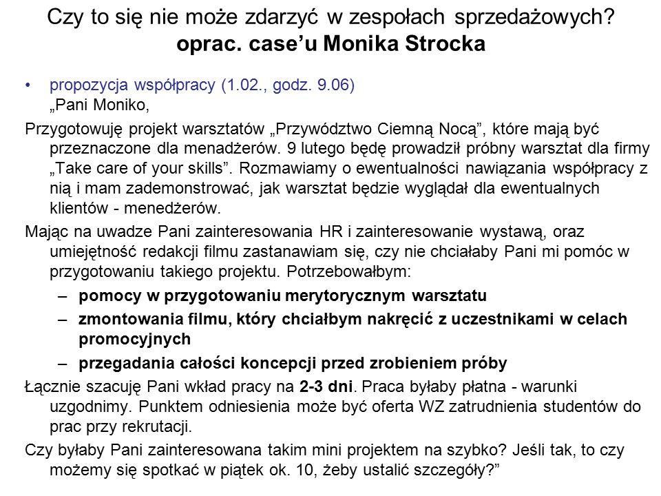 """Czy to się nie może zdarzyć w zespołach sprzedażowych? oprac. case'u Monika Strocka propozycja współpracy (1.02., godz. 9.06) """"Pani Moniko, Przygotowu"""