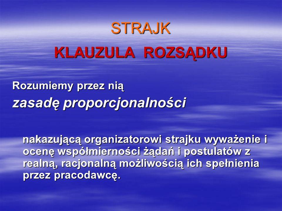STRAJK KLAUZULA ROZSĄDKU Rozumiemy przez nią zasadę proporcjonalności nakazującą organizatorowi strajku wyważenie i ocenę współmierności żądań i postulatów z realną, racjonalną możliwością ich spełnienia przez pracodawcę.