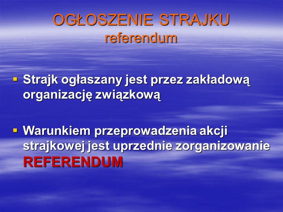 OGŁOSZENIE STRAJKU referendum  Strajk ogłaszany jest przez zakładową organizację związkową  Warunkiem przeprowadzenia akcji strajkowej jest uprzednie zorganizowanie REFERENDUM