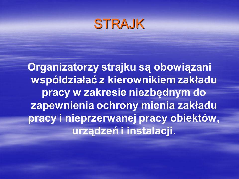 STRAJK Organizatorzy strajku są obowiązani współdziałać z kierownikiem zakładu pracy w zakresie niezbędnym do zapewnienia ochrony mienia zakładu pracy i nieprzerwanej pracy obiektów, urządzeń i instalacji.