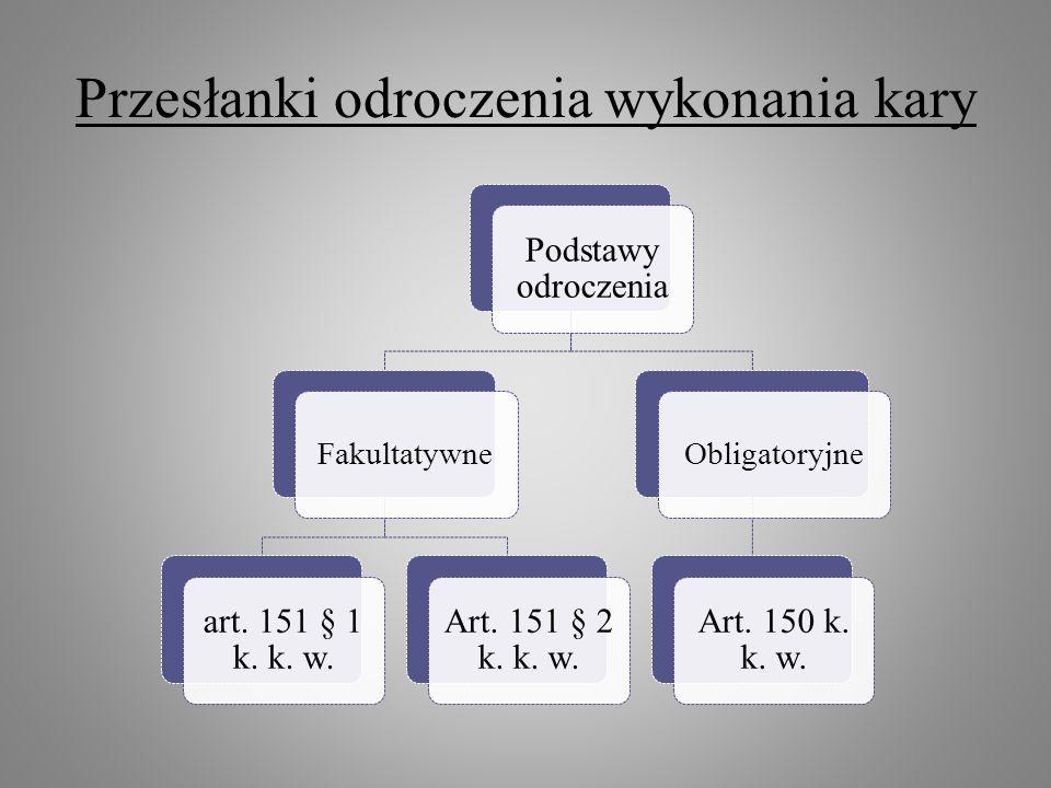 Przesłanki odroczenia wykonania kary Podstawy odroczenia Fakultatywne art. 151 § 1 k. k. w. Art. 151 § 2 k. k. w. Obligatoryjne Art. 150 k. k. w.