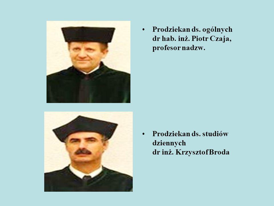 Prodziekan ds. ogólnych dr hab. inż. Piotr Czaja, profesor nadzw. Prodziekan ds. studiów dziennych dr inż. Krzysztof Broda