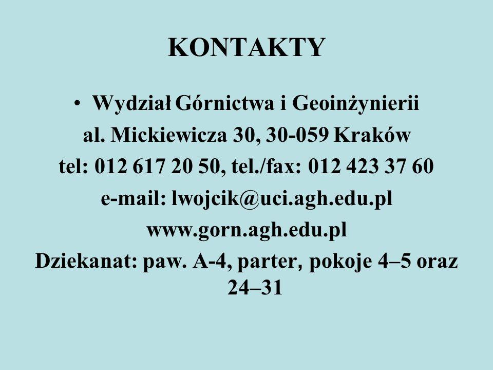 KONTAKTY Wydział Górnictwa i Geoinżynierii al. Mickiewicza 30, 30-059 Kraków tel: 012 617 20 50, tel./fax: 012 423 37 60 e-mail: lwojcik@uci.agh.edu.p