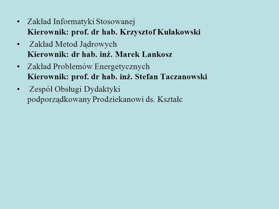 Zakład Informatyki Stosowanej Kierownik: prof. dr hab. Krzysztof Kułakowski Zakład Metod Jądrowych Kierownik: dr hab. inż. Marek Lankosz Zakład Proble