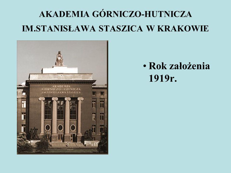 AKADEMIA GÓRNICZO-HUTNICZA IM.STANISŁAWA STASZICA W KRAKOWIE Rok założenia 1919r.