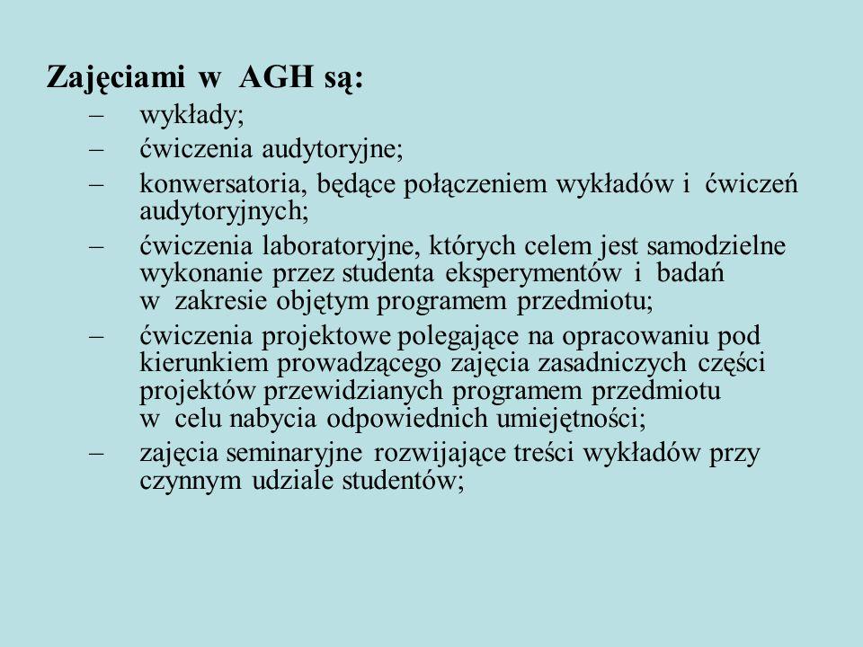 Zajęciami w AGH są: –wykłady; –ćwiczenia audytoryjne; –konwersatoria, będące połączeniem wykładów i ćwiczeń audytoryjnych; –ćwiczenia laboratoryjne, k