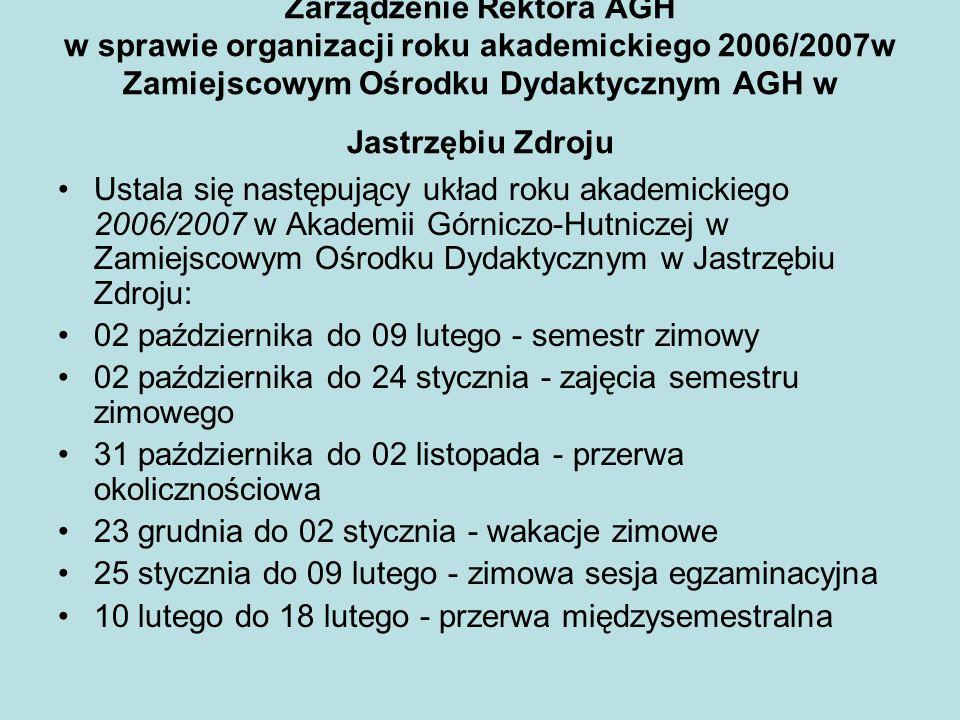 Zarządzenie Rektora AGH w sprawie organizacji roku akademickiego 2006/2007w Zamiejscowym Ośrodku Dydaktycznym AGH w Jastrzębiu Zdroju Ustala się nastę