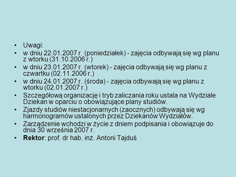Uwagi: w dniu 22.01.2007 r. (poniedziałek) - zajęcia odbywają się wg planu z wtorku (31.10.2006 r.) w dniu 23.01.2007 r. (wtorek) - zajęcia odbywają s