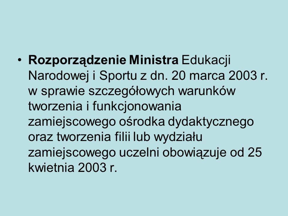 Rozporządzenie Ministra Edukacji Narodowej i Sportu z dn. 20 marca 2003 r. w sprawie szczegółowych warunków tworzenia i funkcjonowania zamiejscowego o
