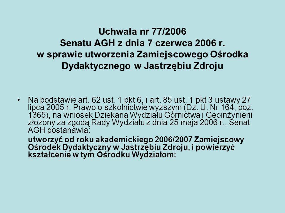 Uchwała nr 77/2006 Senatu AGH z dnia 7 czerwca 2006 r. w sprawie utworzenia Zamiejscowego Ośrodka Dydaktycznego w Jastrzębiu Zdroju Na podstawie art.