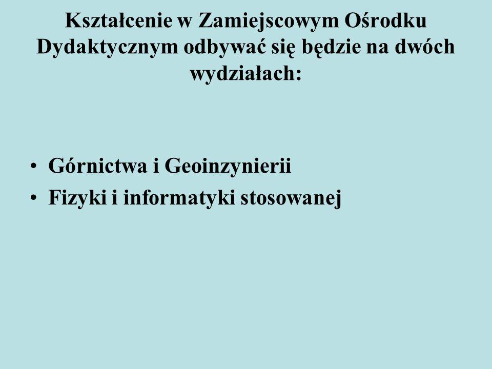 Kształcenie w Zamiejscowym Ośrodku Dydaktycznym odbywać się będzie na dwóch wydziałach: Górnictwa i Geoinzynierii Fizyki i informatyki stosowanej